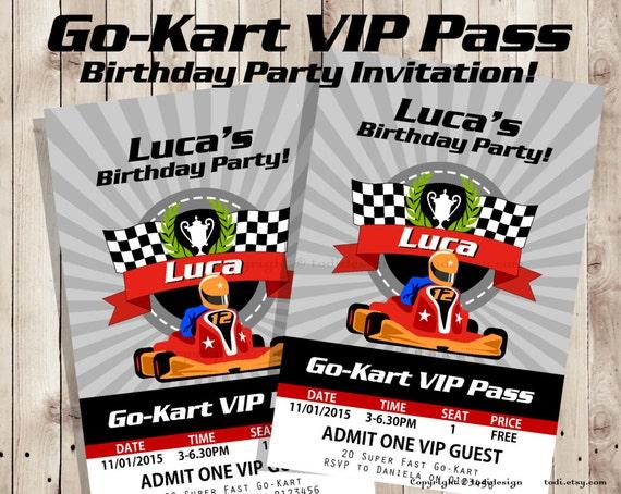 GoKart VIP Pass Birthday party invitation VIP Pass Invitation