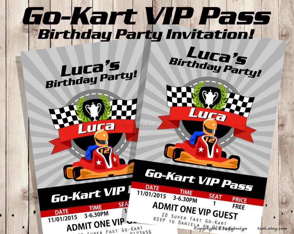 gokart vip pass birthday party invitation vip pass, party invitations