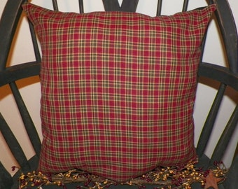 UNSTUFFED Primitive Pillow Cover 16 x 16 Inch Country Rustic Home Decor Decoration Red Plaid Farmhouse Decorative House Prim wvluckygirl