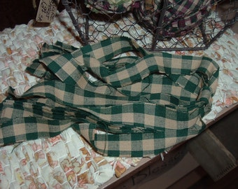 Homespun Strips Ties Green Check for Tags Crafts  Americana Primitive Supply