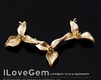 NP-1636 Matt Gold plated, Orchid, Flower, Pendant. 1pc