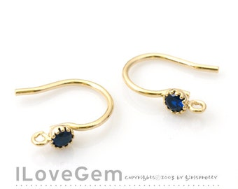 NP-1651 Gold Plated, 10mm Earwire with 3mm CZ, Montana, 4pcs
