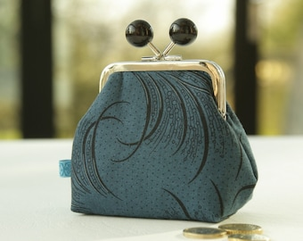 Silver metal frame coin purse/ black beads /Downton Abbey Women's collection/ Mary's plume/ black feathers on dark blue.
