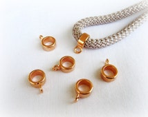 Pink Gold Charm Holder Spacer with Loop, Spacer Ring Finding for use Round Cord 5mm - 4 pieces