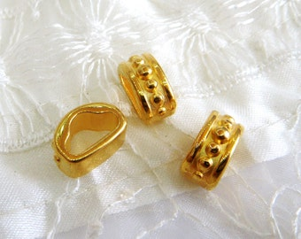 Gold Plated Tube Spacer, Gold Tube Slider 15x10.5x7mm (Ø 5.2x10.2mm) - 2 pieces