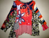 Upcycled t shirt Sweater Combo in Cotton blends fits thru 3X