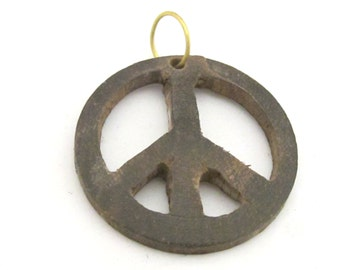1 Pendant - Brown color natural wood carved peace symbol pendant - PB091