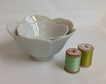 Vintage White Lotus Bowls - Set of Two Nesting Bowls