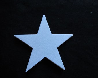 Large Stiffened Felt Star-7 3/4 inch White Star-Christmas Decorations-Costume Embellishments-Hanging Decorations