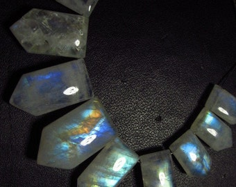 AAA - High Quality - Rainbow Moonstone Smooth Polished Fancy Shape Briolett Gorgeous Full Flashy Fire size - 7x13 - 11x19.5 mm - 15 pcs