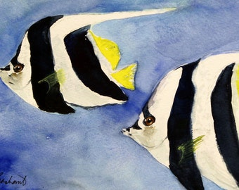 Tropical Longfin Bannerfish - Original watercolor painting - black and white saltwater fish, illustration, wall art, home decor, ocean