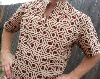 Men's Hand Block Printed Natural Plant Dyed Indian Soft Knit Cotton V Neck Casual Shirt - Brown Concentric Squares on Ivory - Thomas H779
