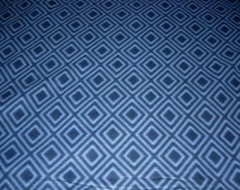 Fleece Fabric - dark blue with diamonds Fleece  - sold by the yard