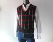 Retro Vintage Brooks Brothers Men's Alpaca Plaid Sweater Vest - 1970s Red Gray Black Winter Wool Sleeveless Vest Vintage Modern Prep -