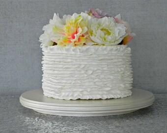 "22"" Wedding Cake Cupcake Stand Metallic Ivory Pearl Rustic Wooden Wedding Decor E. Isabella Designs. As Featured In Martha Stewart Weddings"