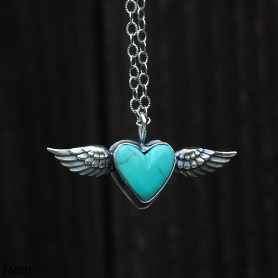 Flying Heart Necklace, Turquoise Heart Pendant, Blue Heart Necklace
