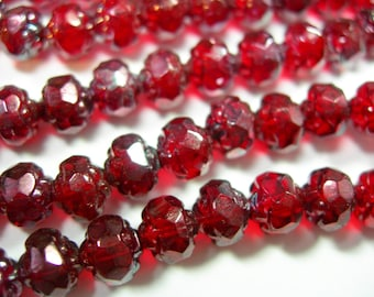 25 5x6mm Czech Glass Siam Ruby Red Vega Rosebud beads