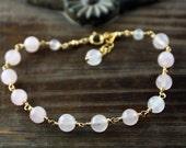 Rose Quartz and 14k Gold Filled Bracelet