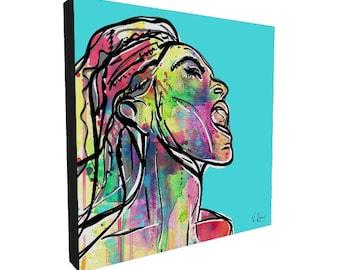 Jazz Singer Art Print, Canvas Art Print, Square Canvas Print, Digital Painting, Pop Art, Abstract Art, Watercolor Art, Modern Art Print