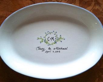 WEDDING GUEST BOOK alternative - Guest Book / guest book / signature plate / sign in platter / vine monogram