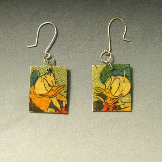 Disney Donald Duck Recycled Comic Book Earrings one of a kind