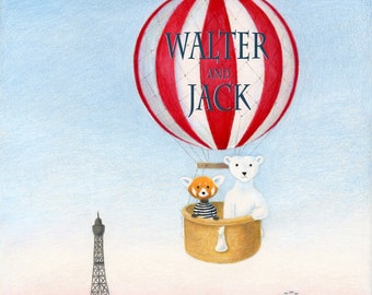 Walter the Red Panda and Jack the Polar Bear's Personalized Hot Air Balloon Ride Over Paris 8 x 10 inch Print by SBMathieu