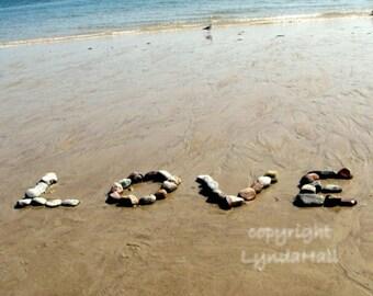 Beach Theme LOVE Sentiment 5x7 Photo with Mat- romantic wedding word created with beach stones, beach wedding gift, summer love, coastal art