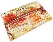 Travel Tissue Holder, Vintage Stamps, Kleenex Holder, Fathers Day Gift, Pocket Tissue Holder, Fabric Tissue Case