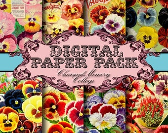 Pansy Seed Catalog ON SALE!!! Digital Paper Pack #1 - 8 Digital Collage Sheets 8.5 x 11 inch - Digital Download - Printable INSTANT Download