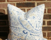 Decorative Pillow: 18 X 18 Paisley Pillow Cover in Shades of  Blue and Light Taupe