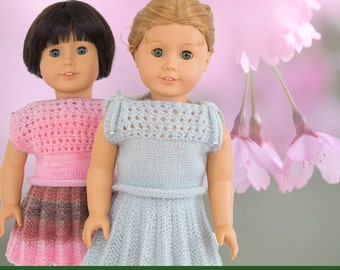 Knitting Pattern For American Girl Doll - Skirt Plisse and Top - Doll