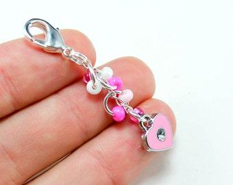 Pink Heart Charm. Cute Girls Party Favor Charm. Heart Keychain Charm.BRC008