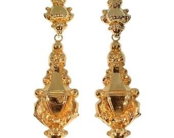 Antique Earrings - Victorian 18k rose gold dangle earrings