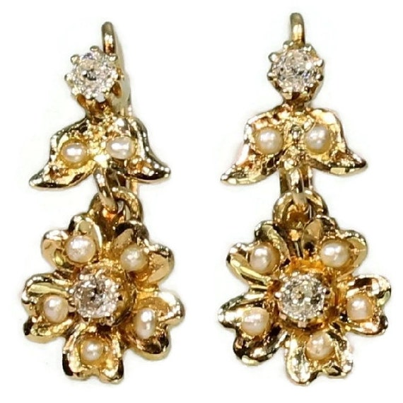 Antique Victorian Diamond Floral Earrings Pearl Yellow Gold ref.10266-4284