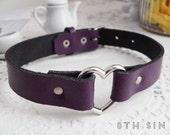 Purple Leather Heart Ring Choker, Purple Heart Choker, Purple Leather Choker, Leather Heart Choker, Heart Ring Choker, Heart Ring Necklace