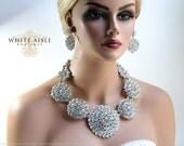 Wedding Jewelry Set, Crystal Bridal Statement Necklace Earrings, Bridal Earrings, Vintage Style