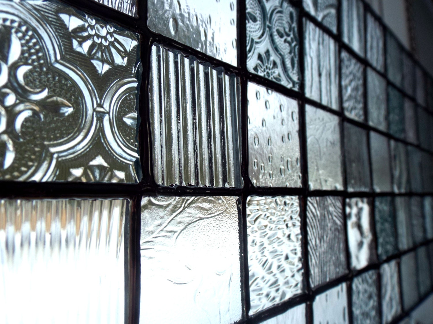 Stained glass panel clear glass hand cut textured art for Textured glass panels