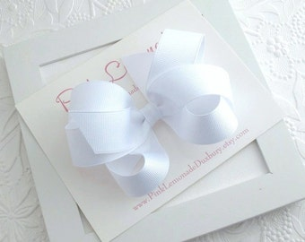 White Hair Bow, White Toddler Hair Clip, First Communion Bow, Large White Boutique Bow, Loopy Bow, Girls Hair Accessories, Baby Hair Bows