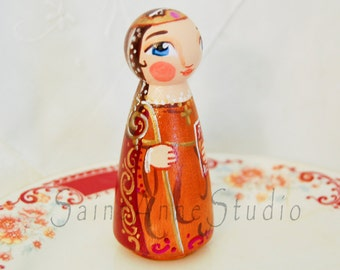 Saint Audrey Wooden Doll - Catholic Saint Doll - Made to Order