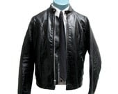 Cafe Racer Leather Jacket Vintage Mens Black Leather Euro Style Biker Jacket Mns US Size 40