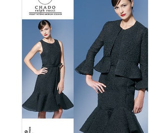 Sz 6/8/10/12 - Vogue Dress Pattern v1269 by CHADO RALPH RUCCI - Misses' Jacket, Dress and Belt