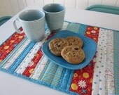 Fresh Flowers Striped Quilted Table Runner Teal Red and White