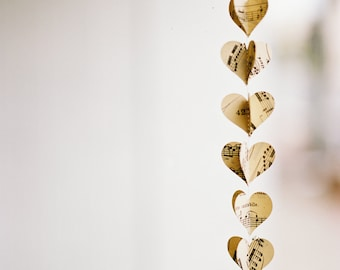 Sheet Music Heart Garland - Vertical Wedding Decoration - Musical Notes - Dorm Room or Classroom Decorations - Music Teacher or Student Gift