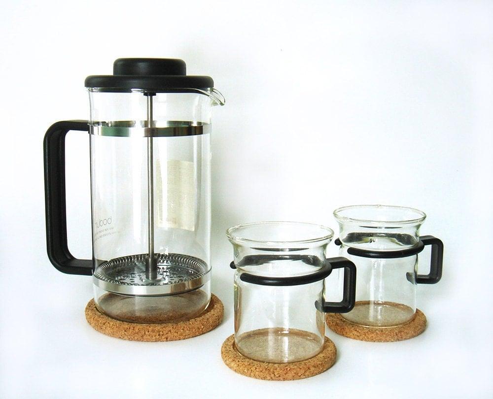 Vintage Bodum Bistro French Press Glass Coffee Mug Set