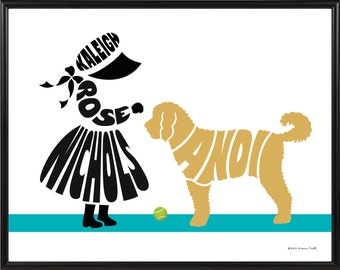 Personalized Little Girl with Dog Print, Girl and Goldendoodle Art, 11x14 Framed Dog Art