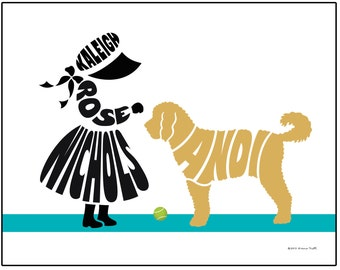 Personalized Little Girl with Dog Print, Girl and Goldendoodle or Labradoodle Art, Unframed Dog Name Art
