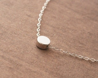 Silver Necklace,Cute Small Round,Sterling Silver Chain,Simple Necklace,Dainty Jewelry,Dainty Necklace,Round Necklace,Minimal Necklace