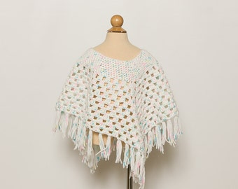 vintage 70s toddler girl's knit poncho with fringe