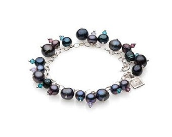 Peacock Grey Freshwater Pearl and Swarovski Crystal Silver Charming Bracelet. Anniversary gift for her. Mothers Day Gift