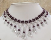 Glass Pearl and Crystal Beaded Necklace Set / Free Shipping